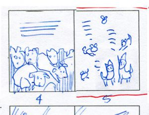 Early thumbnail sketches for pages 4 and 5